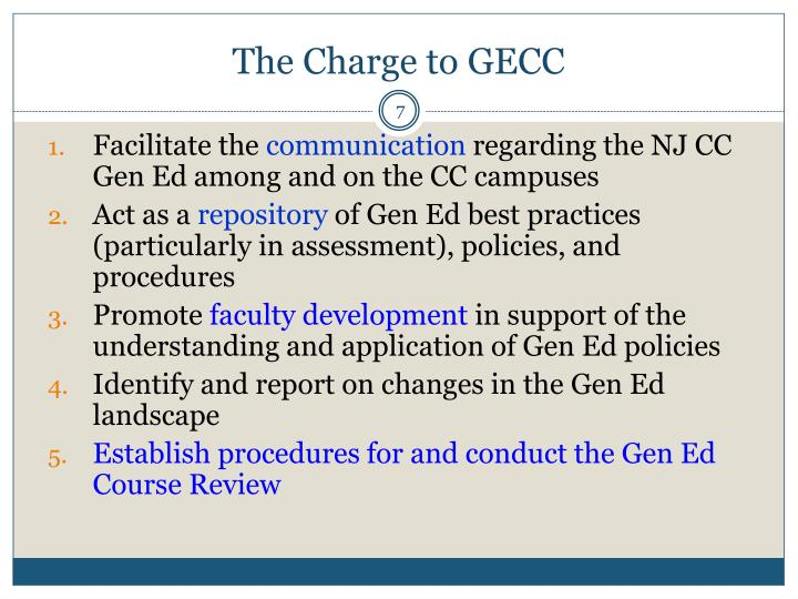 The Charge to GECC