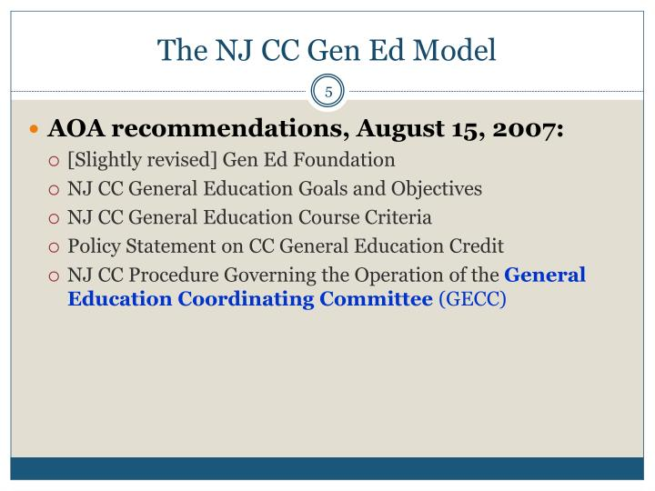 The NJ CC Gen Ed Model