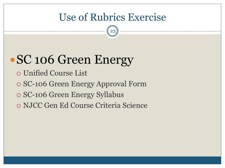 Use of Rubrics Exercise