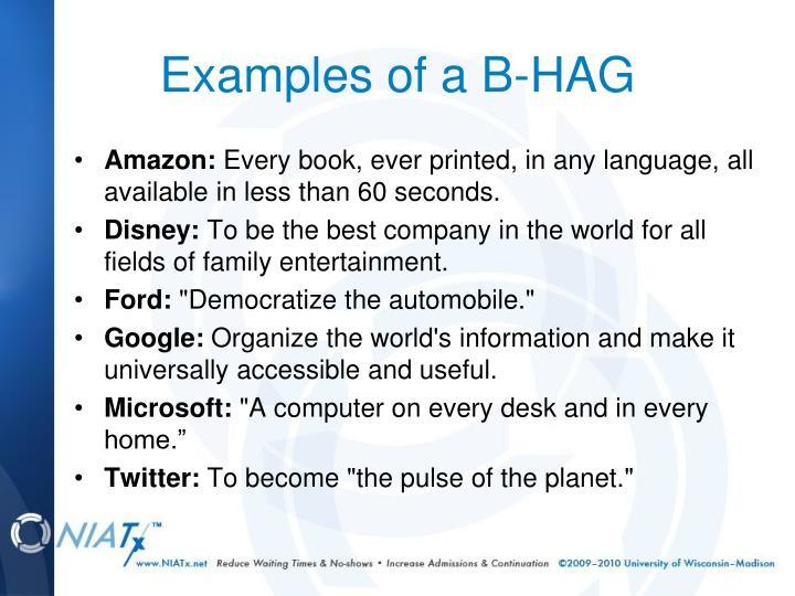 Examples of a B-HAG