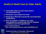 quality of health care for older adults