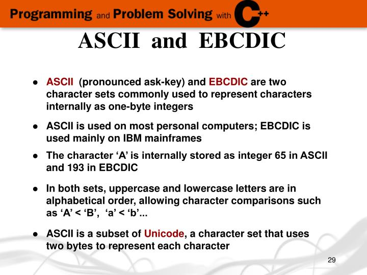 ASCII  and  EBCDIC
