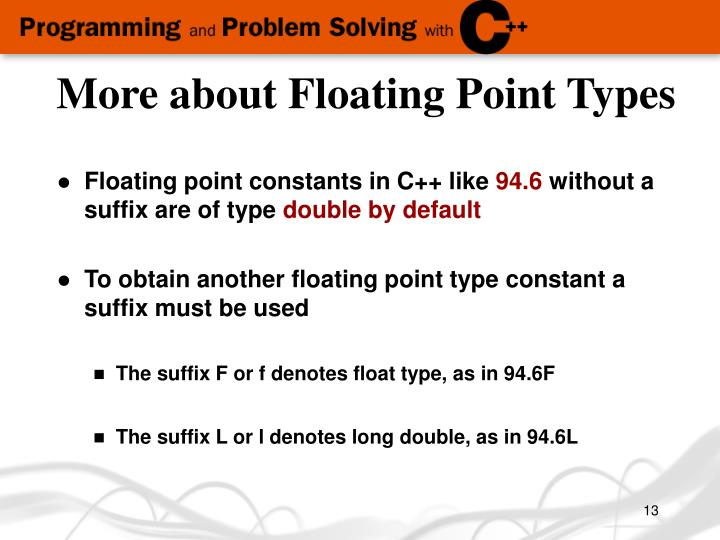 More about Floating Point Types