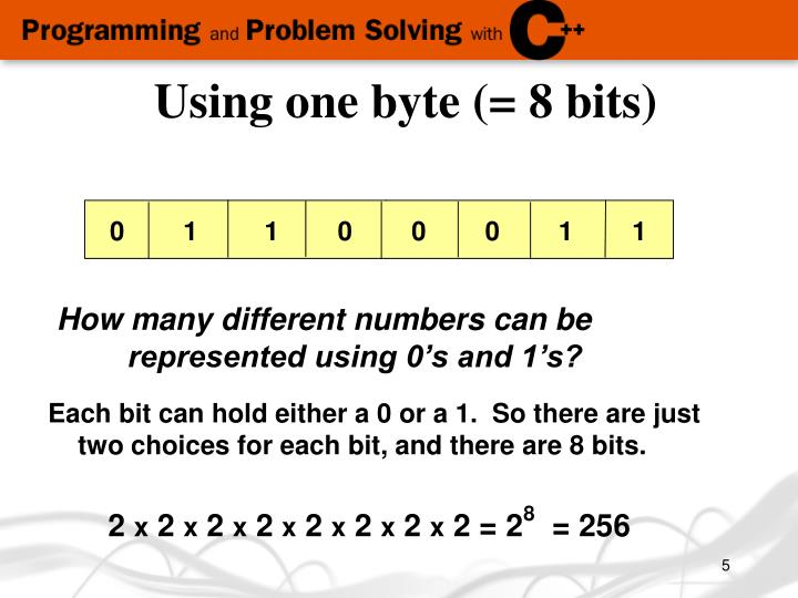 Using one byte (= 8 bits)