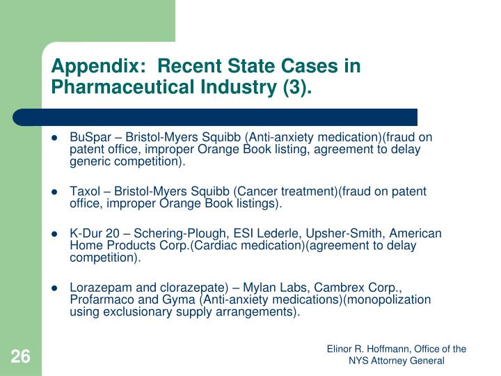 Appendix:  Recent State Cases in Pharmaceutical Industry (3).