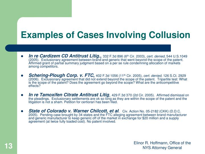 Examples of Cases Involving Collusion