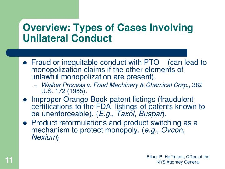 Overview: Types of Cases Involving Unilateral Conduct