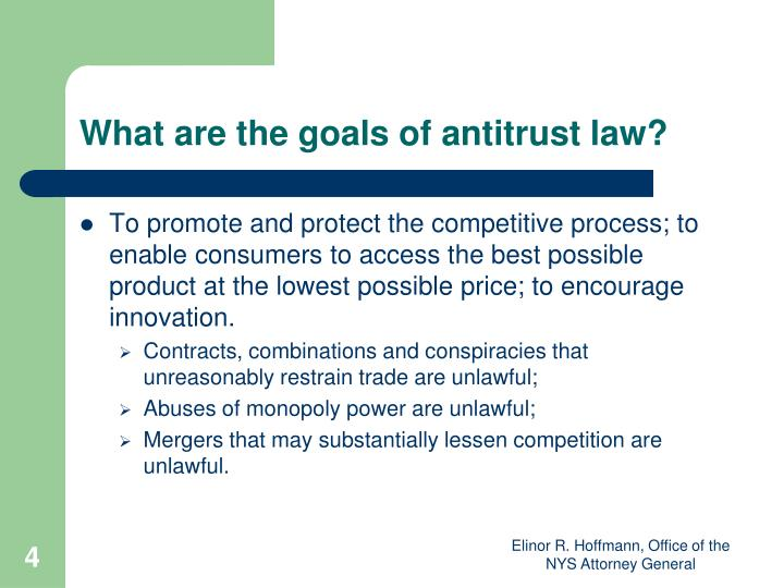 What are the goals of antitrust law?