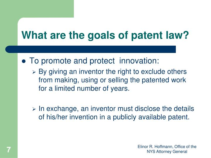 What are the goals of patent law?