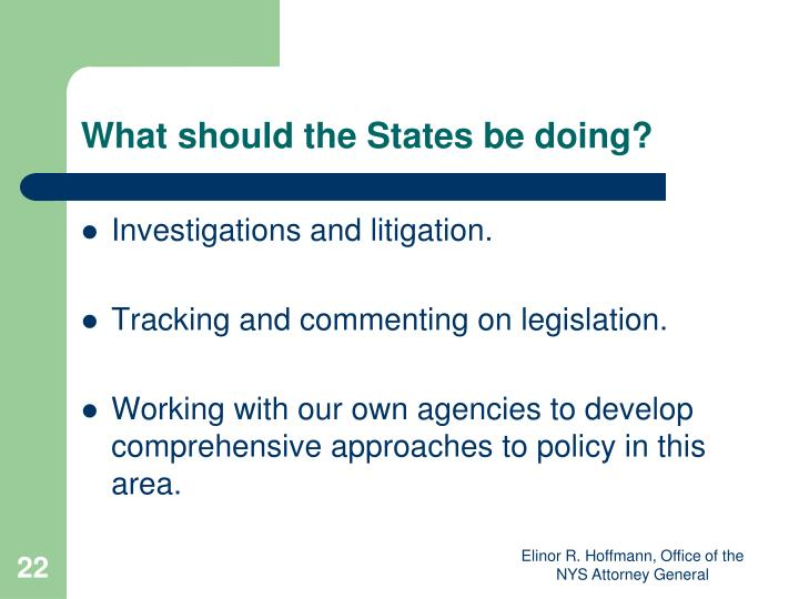 What should the States be doing?