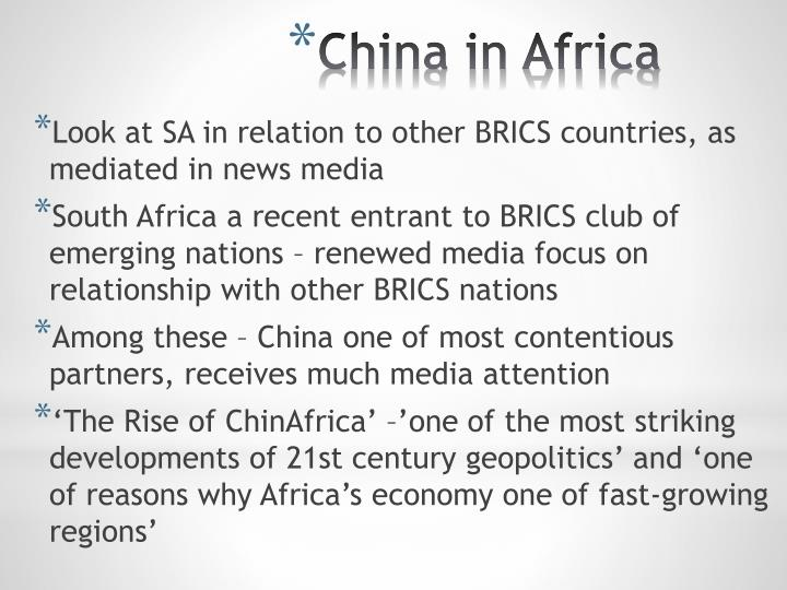 Look at SA in relation to other BRICS countries, as mediated in news media