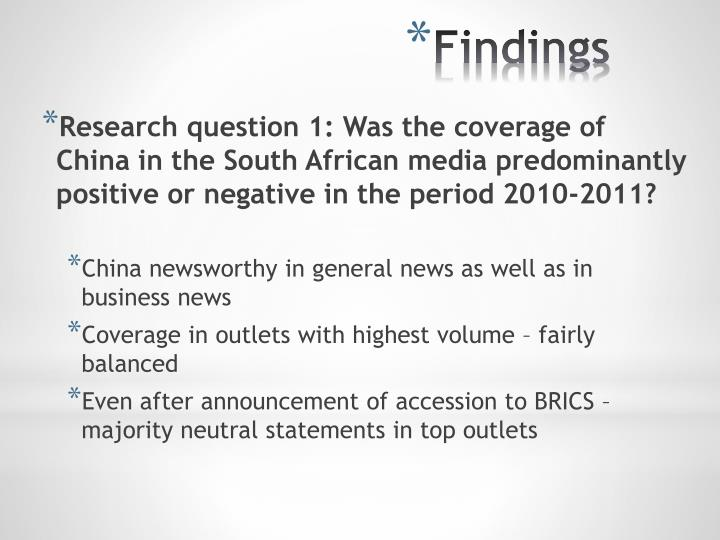 Research question 1: Was the coverage of China in the South African media predominantly positive or negative in the period 2010-2011?