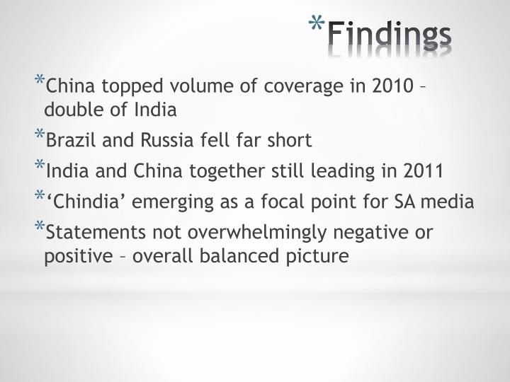 China topped volume of coverage in 2010 – double of India