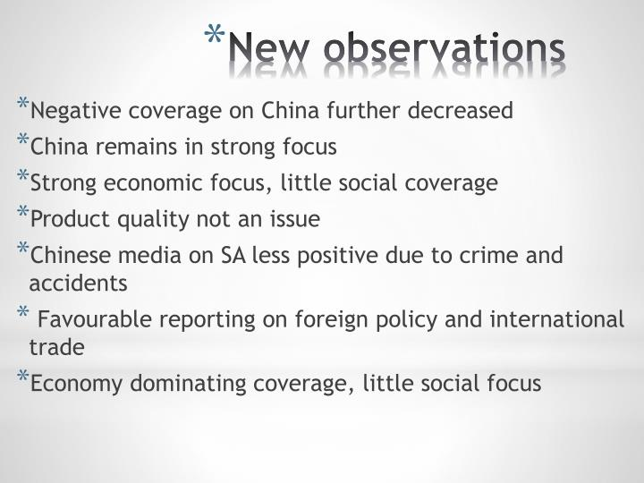 Negative coverage on China further decreased