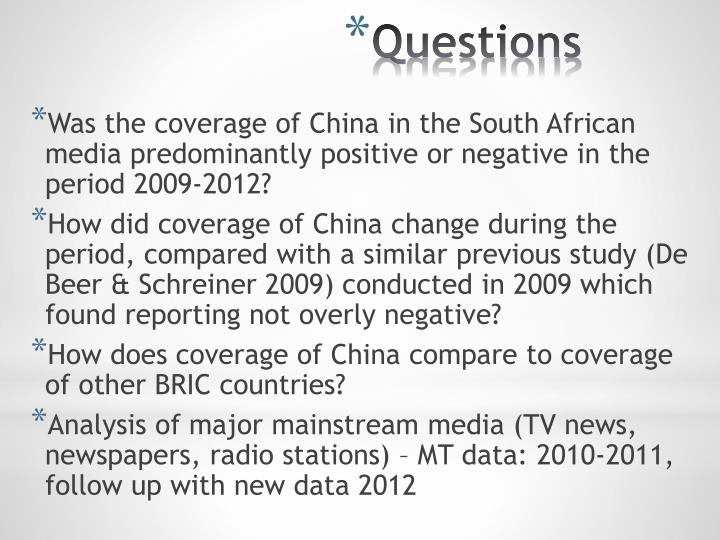 Was the coverage of China in the South African media predominantly positive or negative in the period