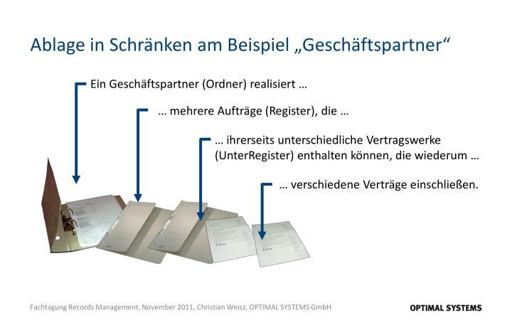 """Ablage in Schränken am Beispiel """"Geschäftspartner"""""""
