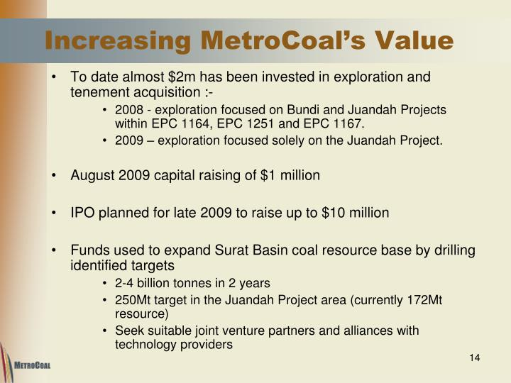 Increasing MetroCoal's Value