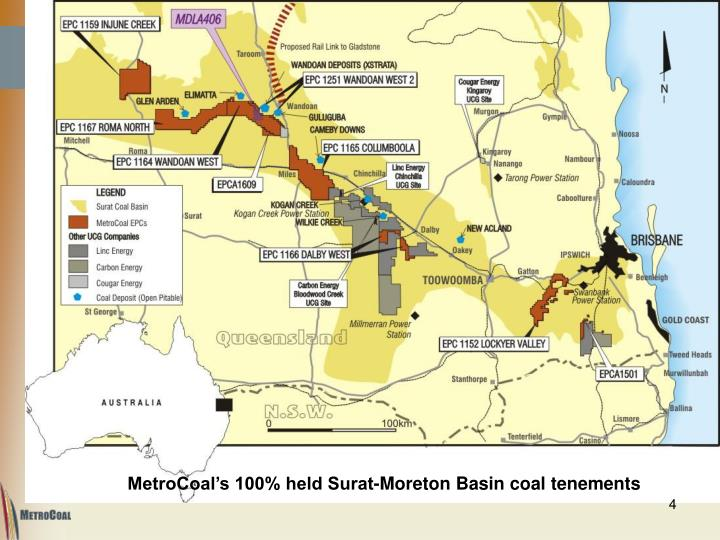 MetroCoal's 100% held Surat-Moreton Basin coal tenements