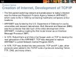 protocol suites creation of internet development of tcp ip