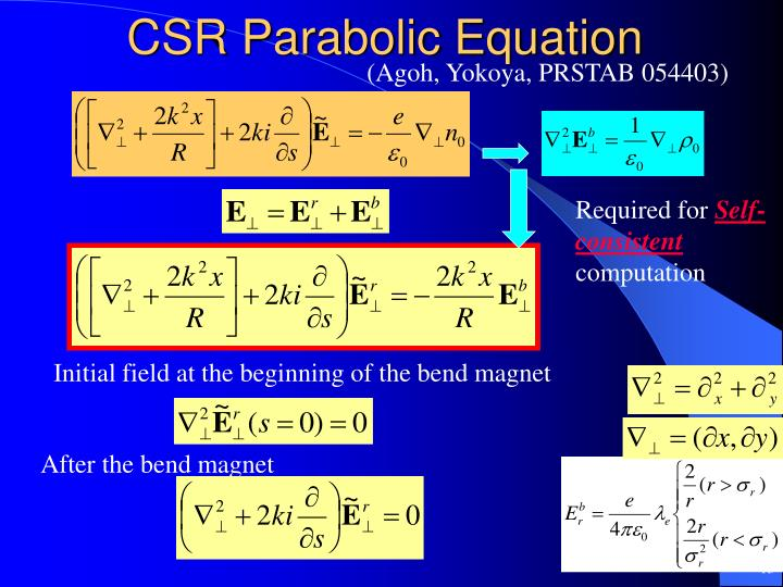 CSR Parabolic Equation