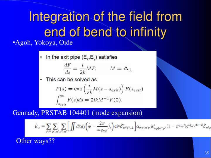 Integration of the field from end of bend to infinity