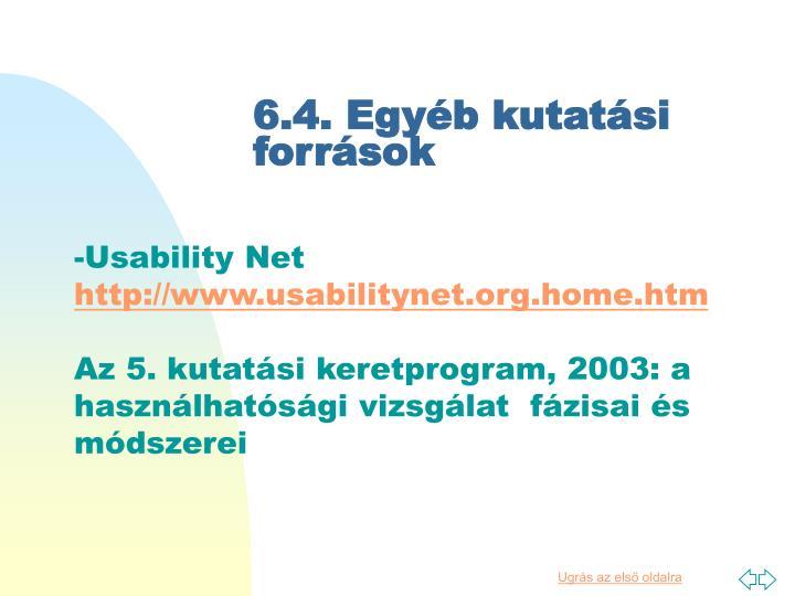 6.4. Egyéb kutatási források