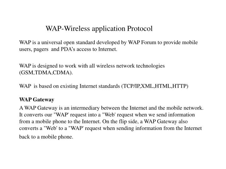 WAP-Wireless application Protocol