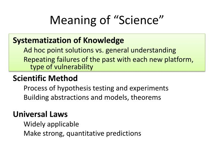"Meaning of ""Science"""