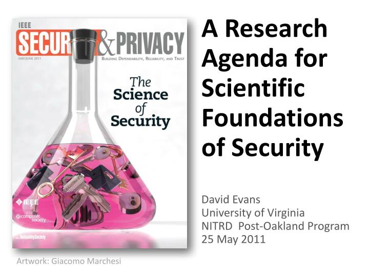 A Research Agenda for Scientific Foundations of Security