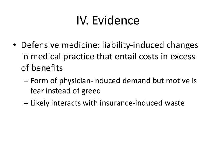 IV. Evidence