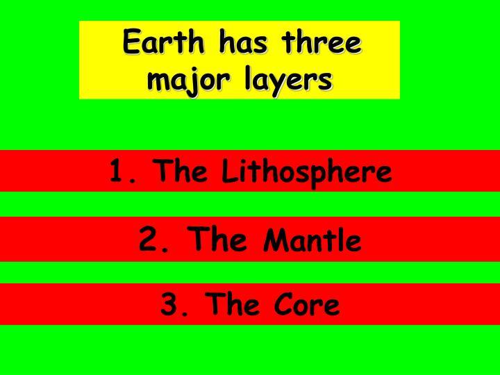 Earth has three major layers