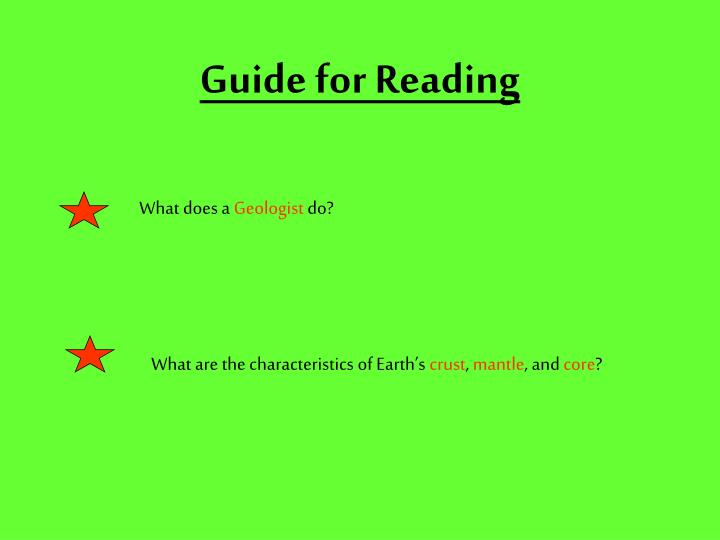 Guide for Reading
