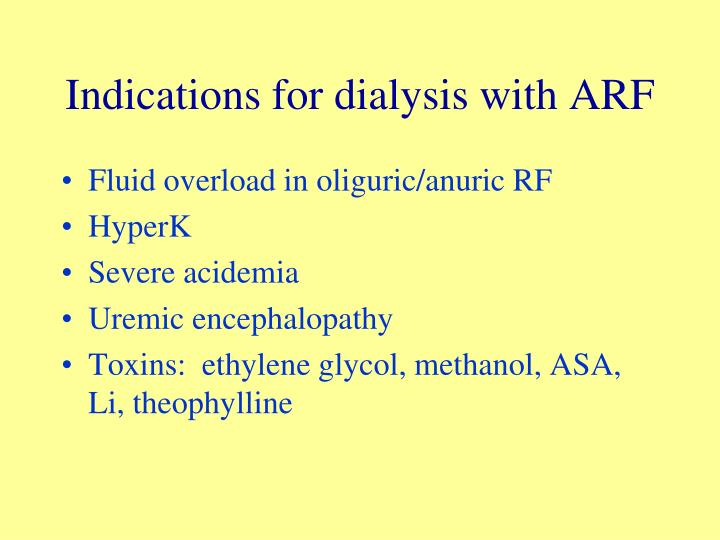 Indications for dialysis with ARF