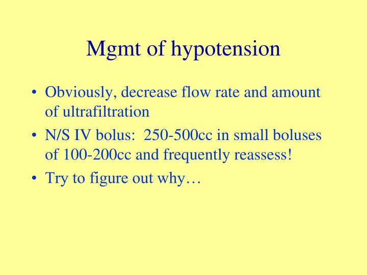 Mgmt of hypotension