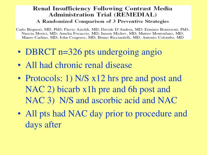 DBRCT n=326 pts undergoing angio