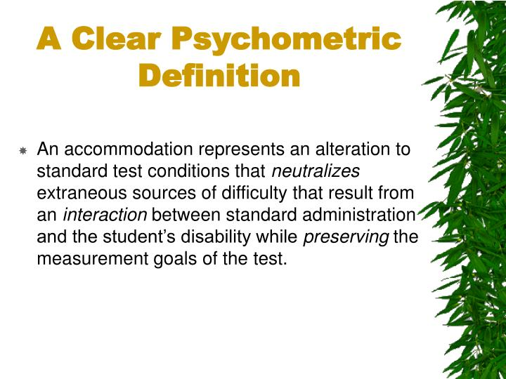 A Clear Psychometric Definition