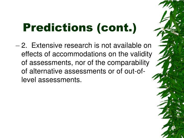 Predictions (cont.)