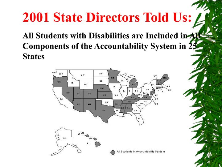 2001 State Directors Told Us: