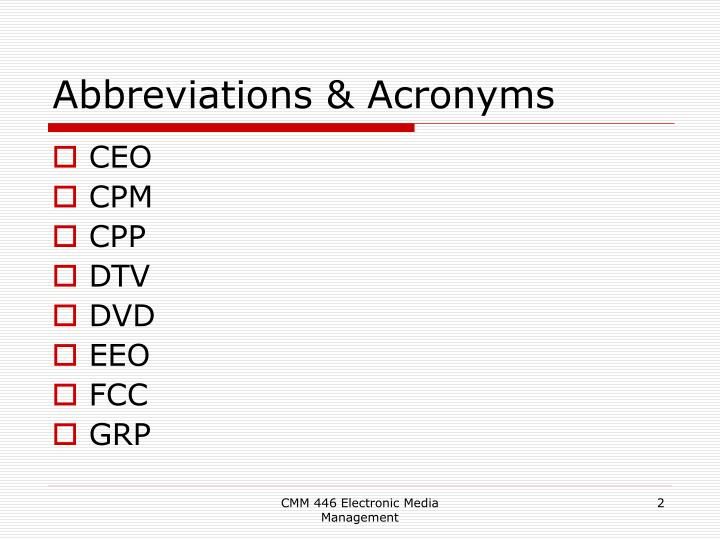 Abbreviations acronyms