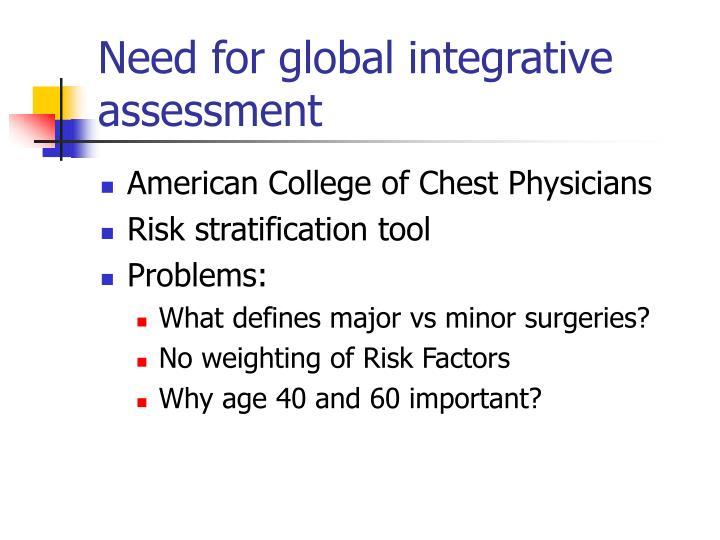Need for global integrative assessment