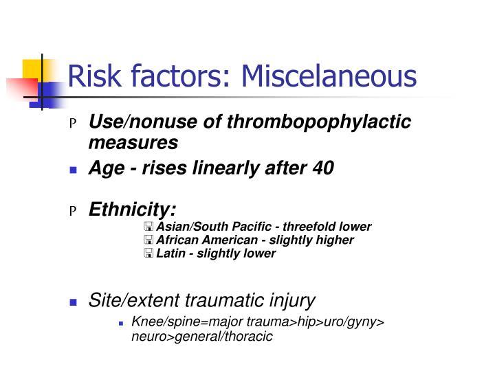 Risk factors: Miscelaneous