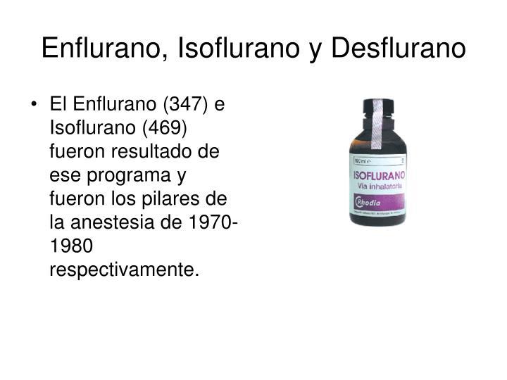 El Enflurano (347) e Isoflurano (469) fueron resultado de ese programa y fueron los pilares de la anestesia de 1970-1980 respectivamente.