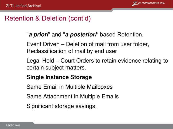 Retention & Deletion (cont'd)