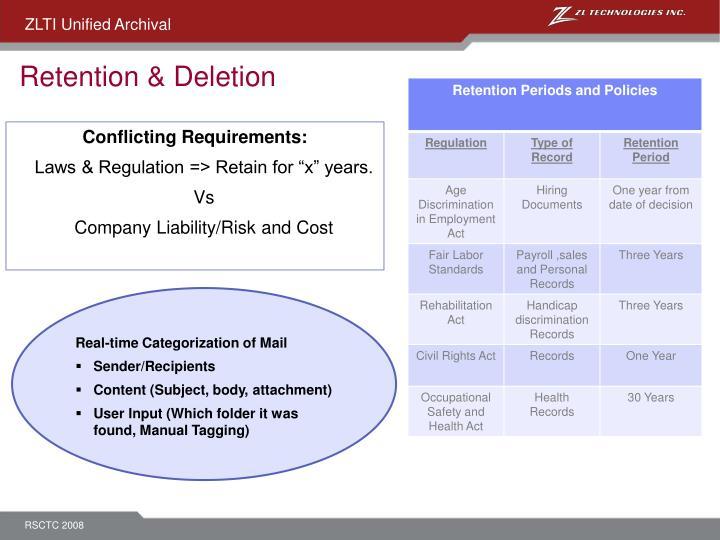 Retention & Deletion