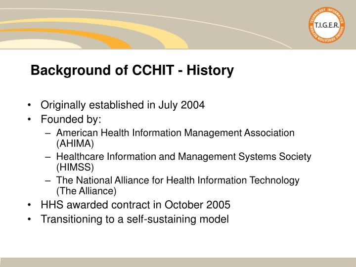 Background of CCHIT - History