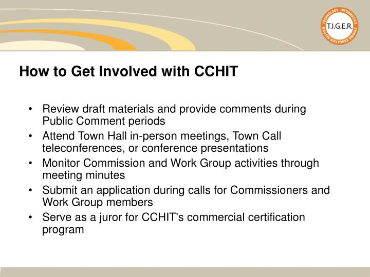 How to Get Involved with CCHIT