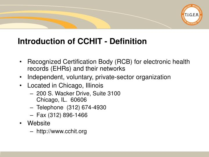 Introduction of CCHIT - Definition