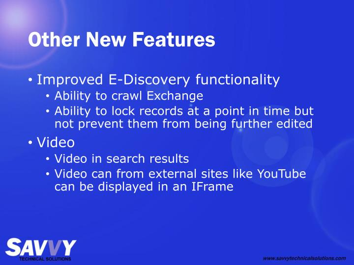 Other New Features