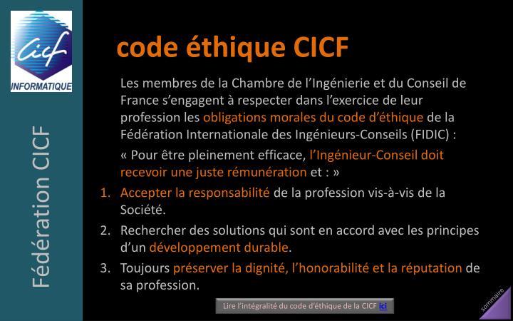 code éthique CICF