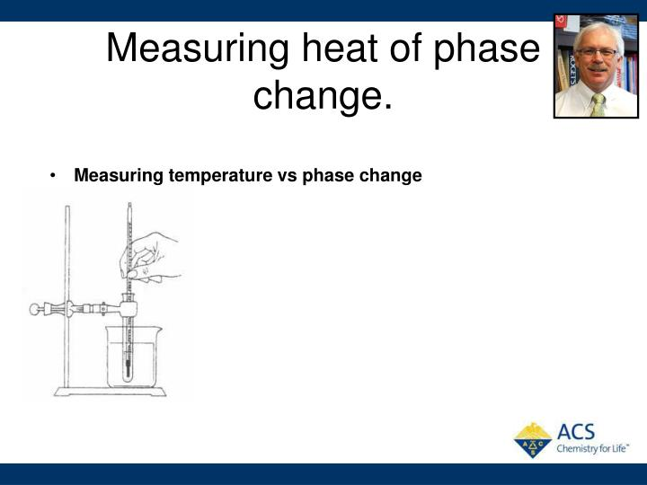 Measuring heat of phase change.